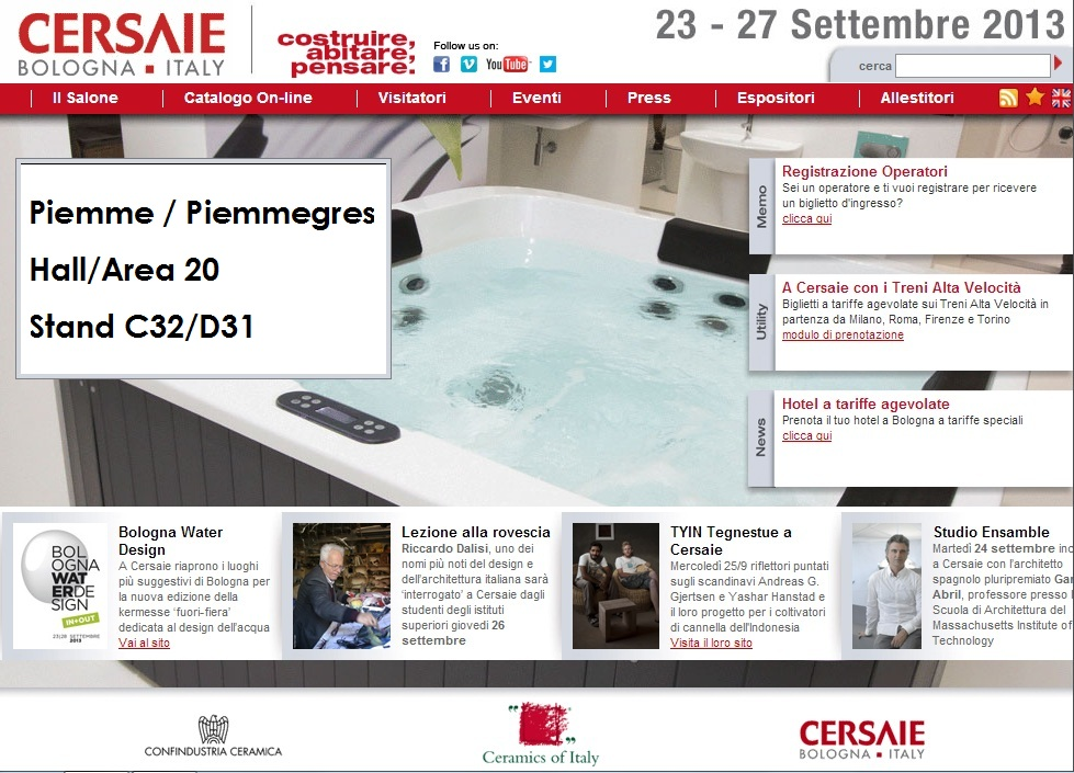 Piemme at Cersaie Bologna from 23 to 27 September 2013